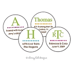 Lime Monogram round labels