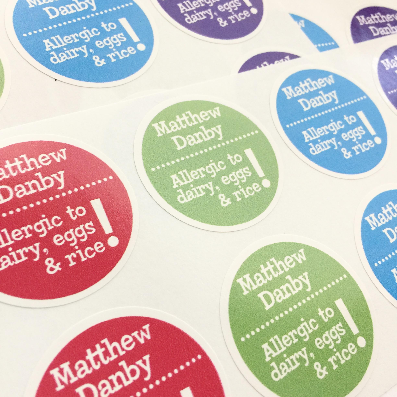 Designer waterproof name labels
