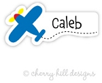 Airplane mini die cut name labels - set of 26