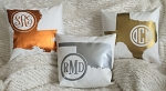 METALLIC monogrammed state pillow cover -14x14 in copper, gold or silver by rouge & co.