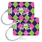 Argyle {pink} premium bag tag