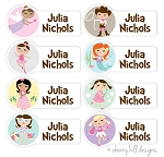 Character {girls} - mini waterproof labels - set of 64