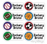 Sports - full size iron-on labels - set of 48