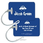 Blue car premium bag tag