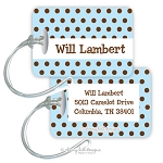 Chocolate Dots [blue] premium bag tag