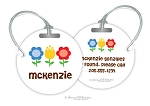 Flower Bed round premium bag tag