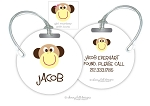 Monkey round premium bag tag