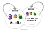 Sea Creatures round premium bag tag