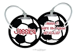 Soccer Ball round premium bag tag