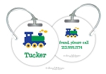 Train round premium bag tag