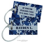 Blue Camo premium bag tag