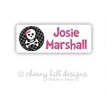 Bow-n-skull iron on name labels
