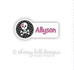 Bow-n-skull mini die cut name labels - set of 26