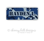 Blue camo iron on name labels