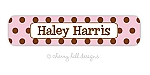 Chocolate Dots pink - large waterproof name labels - set of 24