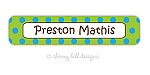 Confetti lime/blue - large waterproof name labels - set of 24