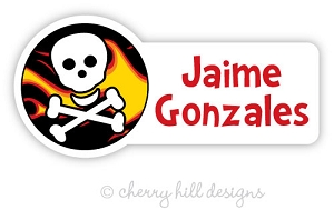 Flame Skull waterproof name labels