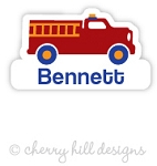 Fire Truck mini die cut name labels - set of 26