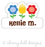 Flower Bed mini die cut name labels - set of 26