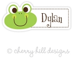Frog mini die cut name labels - set of 26