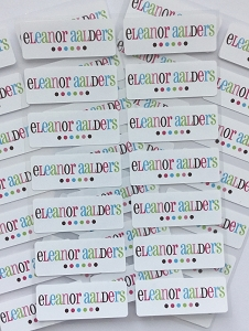 Good Cheer pink - iron-on clothing labels - set of 42