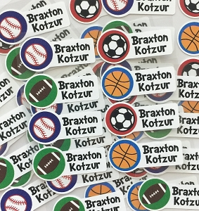 sports - mini iron-on labels - set of 56