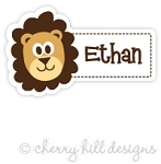 Lion mini die cut name labels - set of 26