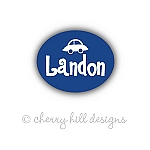 Mini Blue Car waterproof name labels
