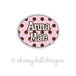 Mini Chocolate Dots {pink} waterproof name labels