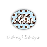 Mini Chocolate Dots {blue} waterproof name labels