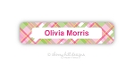 Madras {pink} waterproof name labels