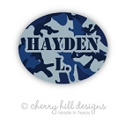 Mini Blue Camo waterproof name labels