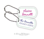 Stitched On mini tags {blue or pink} - set of 2