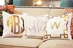 metallic monogrammed pillow cover by rouge & co.