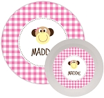 Monkey {pink} melamine dinnerware set
