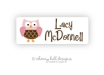 Owl {pink} iron on name labels