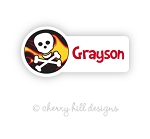 Pirate mini die cut name labels - set of 26