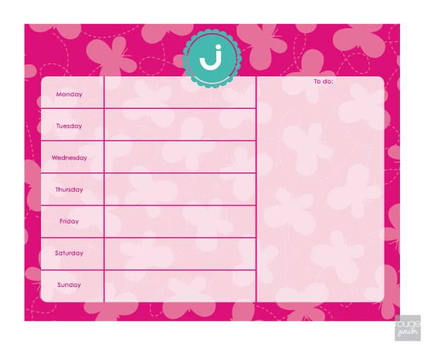 butterfly weekly planner