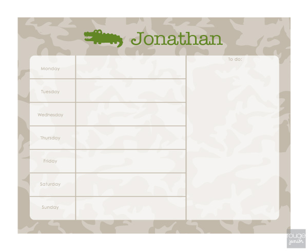 camo weekly planner