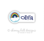 Rainbow mini die cut name labels - set of 26