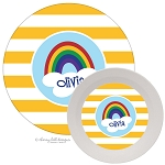 Rainbow melamine dinnerware set