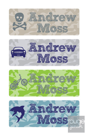 camo - mini iron-on labels - set of 64