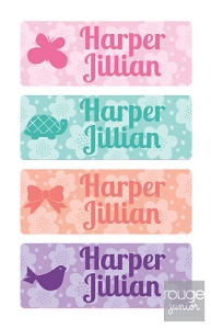 flowers - mini waterproof labels - set of 72