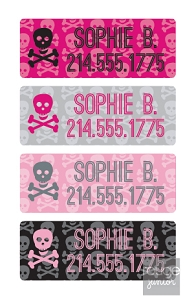 pink skulls - mini iron-on labels - set of 64
