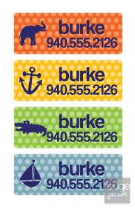 polka navy peel 'n stick clothing labels - set of 64