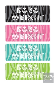 zebra - mini iron-on labels - set of 64