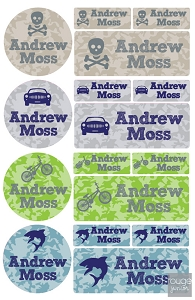 camo icons iron-on label combo - set of 48