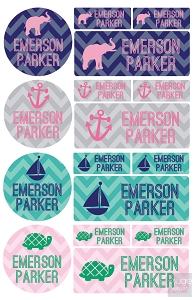 chevron - waterproof name label combo - set of 64