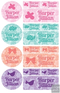flowers iron-on label combo - set of 48