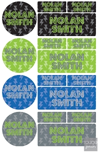 lightning iron-on label combo - set of 48